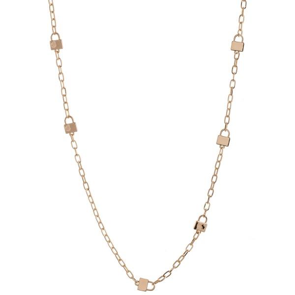 Wholesale long Lock Chain Link Necklace L Adjustable Extender