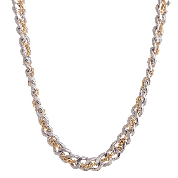 """Two Tone Curb Chain Link Woven Necklace.  - Approximately 12"""" L  - 2"""" Adjustable Extender"""