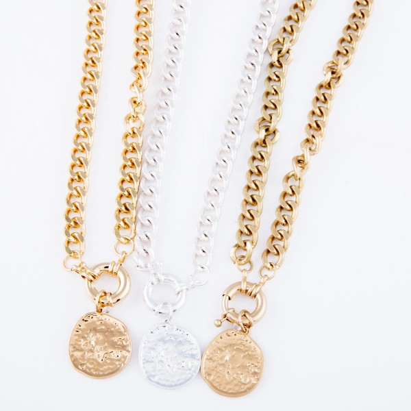"""Curb Chain Link Coin Necklace Featuring a Front Clasp Closure.  - Pendant 1""""  - Front Clasp Closure - Approximately 14"""" L  - 2.5"""" Adjustable Extender"""
