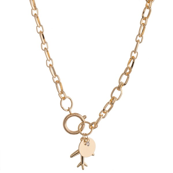 "Chain Link Airplane Pendant Necklace Featuring a Front Clasp Closure in Worn Gold.  - Pendant 1""  - Front Clasp Closure - Approximately 16"" L"