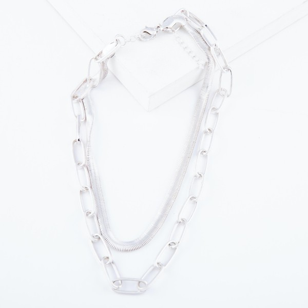 """Snake Chain Link Layered Necklace.  - Shortest Layer 14"""" L  - Approximately 16"""" L  - 2.5"""" Adjustable Extender"""