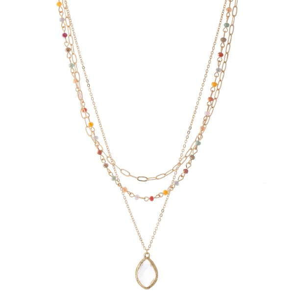 "Chain Link Layered Beaded Clear Crystal Necklace.  - Pendant .75"" - Approximately 18"" L  - 3"" Adjustable Extender"