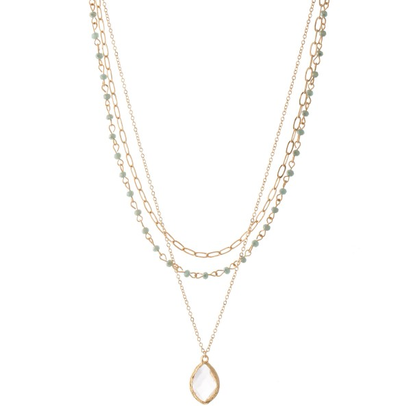 """Chain Link Layered Beaded Clear Crystal Necklace.  - Pendant .75"""" - Approximately 18"""" L  - 3"""" Adjustable Extender"""