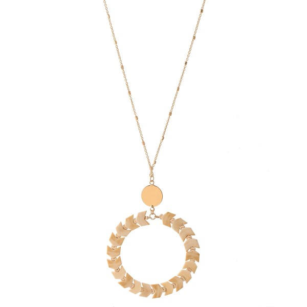 "Long Gold Necklace with Chevron Beaded Circle Pendant.  - Pendant approximately 2""  - Approximately 34"" L  - 3"" Adjustable Extender"