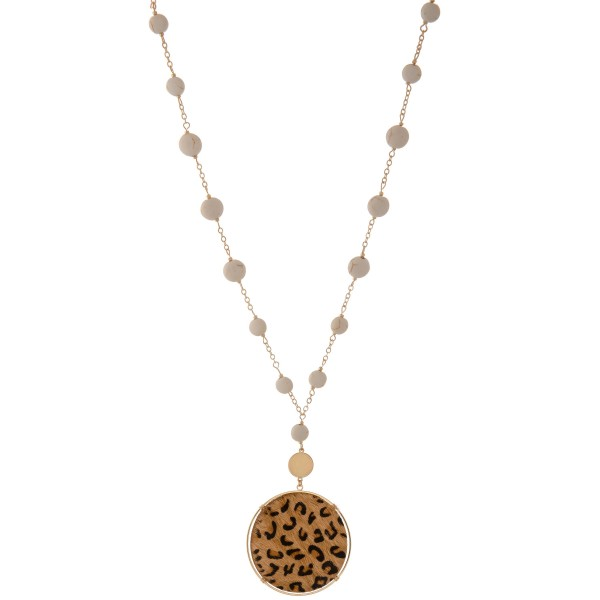 """Long semi precious beaded faux leather leopard print disc pendant necklace.  - Pendant approximately 3""""  - Approximately 36"""" L overall  - 3"""" extender"""