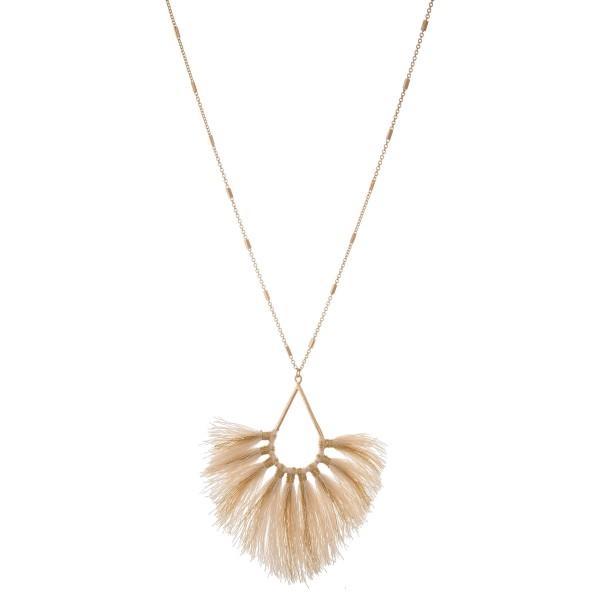 "Long Metallic Stripe Fringe Tassel Pendant Necklace.  - Pendant approximately 4""  - Approximately 40"" L overall - 3"" extender"