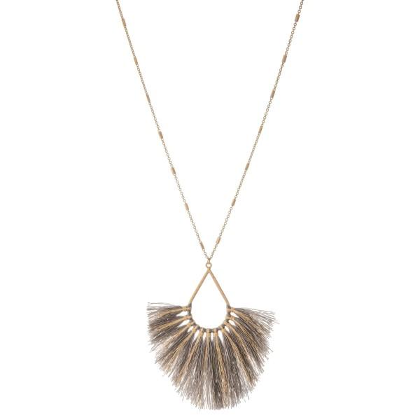 "Long Metallic Stripe Fringe Tassel Teardrop Pendant Necklace.  - Pendant approximately 4""  - Approximately 40"" L overall - 3"" extender"
