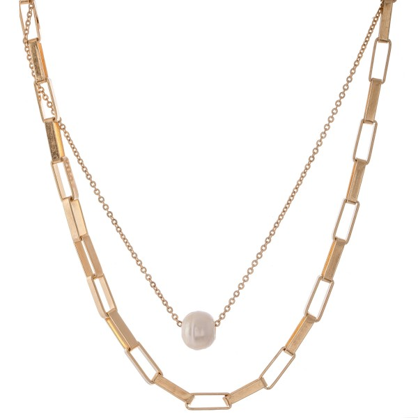 "Layered Box Chain Link Pearl Necklace.  - Approximately 16"" L - 2"" Adjustable Extender"