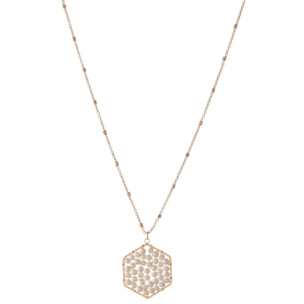 """Ivory Pearl Beaded Hexagon Pendant Necklace.  - Pendant 1""""  - Approximately 18"""" L - 3"""" Adjustable Extender"""