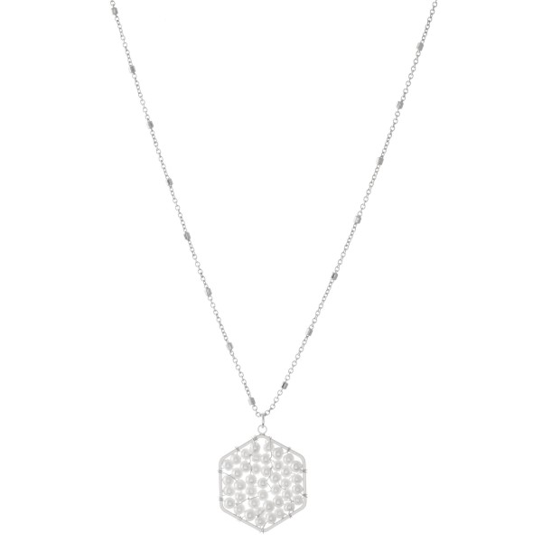"Ivory Pearl Beaded Hexagon Pendant Necklace.  - Pendant 1""  - Approximately 18"" L - 3"" Adjustable Extender"