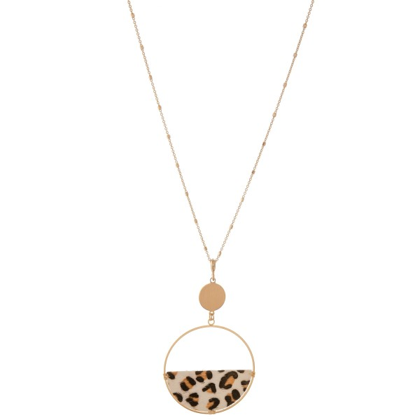 """Long faux leather leopard print semi circle pendant necklace.  - Pendant approximately 3"""" - Approximately 36"""" L overall - 3"""" extender"""
