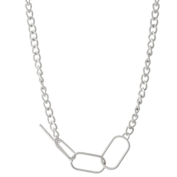 "Multi-Function Adjustable Curb Chain Toggle Bar Necklace.  - Approximately 18"" L"