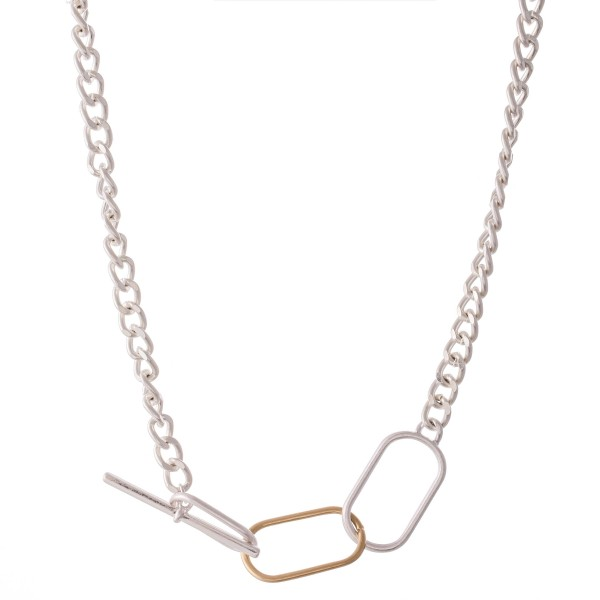"Two Tone Multi-Function Adjustable Curb Chain Toggle Bar Necklace.  - Approximately 18"" L"