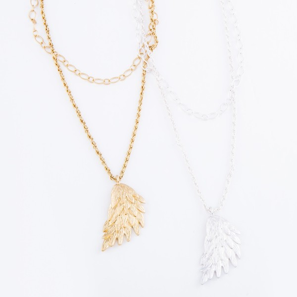 """Rope Chain Layered Angel Wing Necklace.  - Pendant 1.5""""  - Shortest Layer 14"""" L - Approximately 18"""" L overall - 3"""" Adjustable Extender"""