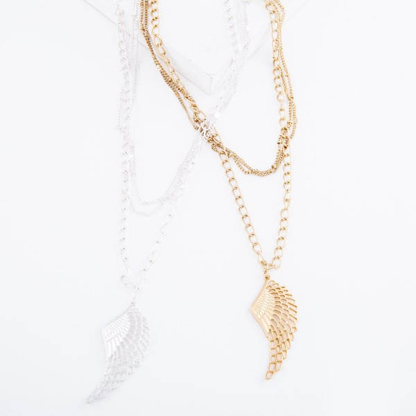 """Layered Angle Wing Pendant Necklace.  - Pendant 2""""  - Shortest Layer 14"""" L - Approximately 22"""" L overall - 3"""" Adjustable Extender"""