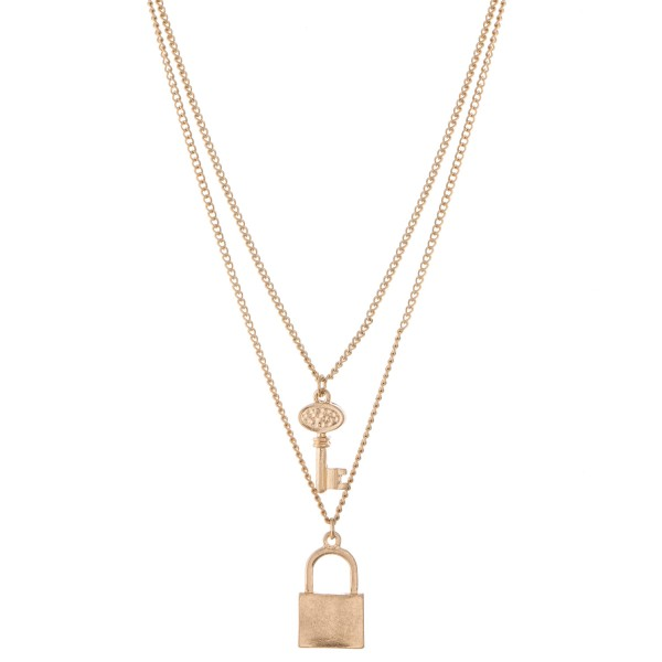 """Lock and Key layered necklace.  - Pendant approximately 1""""  - Approximately 18"""" L overall  - 3"""" extender"""