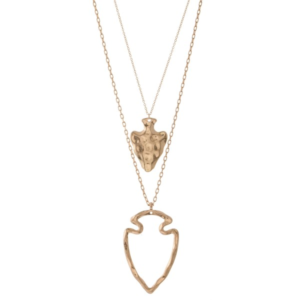 """Long cut out hammered arrow layered necklace.  - Pendant approximately 2.75""""  - Approximately 34"""" L overall - 3"""" extender"""