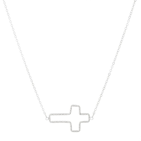 "Textured Gold Metal East West Cross Necklace.  - Cross Pendant 1.25"" L - Approximately 16"" overall - 3.5"" Adjustable Extender"