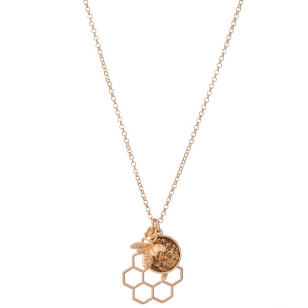 """Gold Honeycomb Pendant Necklace Featuring Natural Stone Accent.  - Pendant 1""""  - Approximately 18"""" L  - 3"""" Adjustable Extender"""