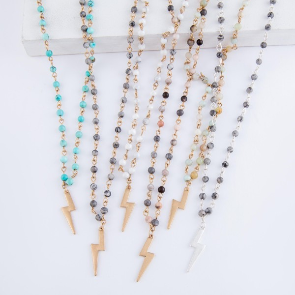 """Semi Precious Natural Stone Beaded Chain Lightning Bold Necklace in Worn Silver.  - Pendant 1"""" L - Approximately 18"""" L overall - 3"""" Adjustable Extender"""