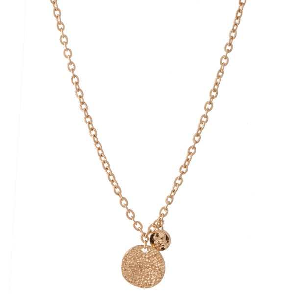 "Textured Coin Necklace.  - Pendant approximately .75""  - Approximately 20"" L  - 3"" Adjustable  Extender"