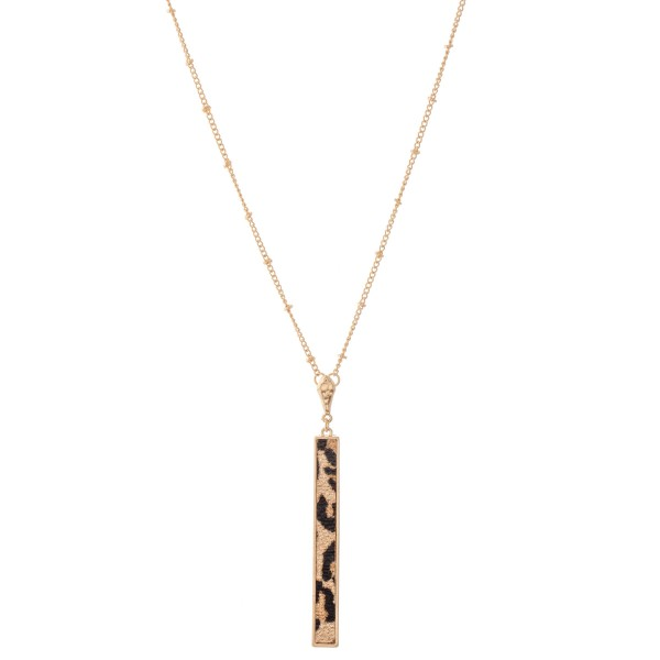 "Long Metal Encased Faux Leather Animal Print Bar Necklace.  - Pendant 3"" L - Approximately 36"" L overall - 3"" Adjustable Extender"