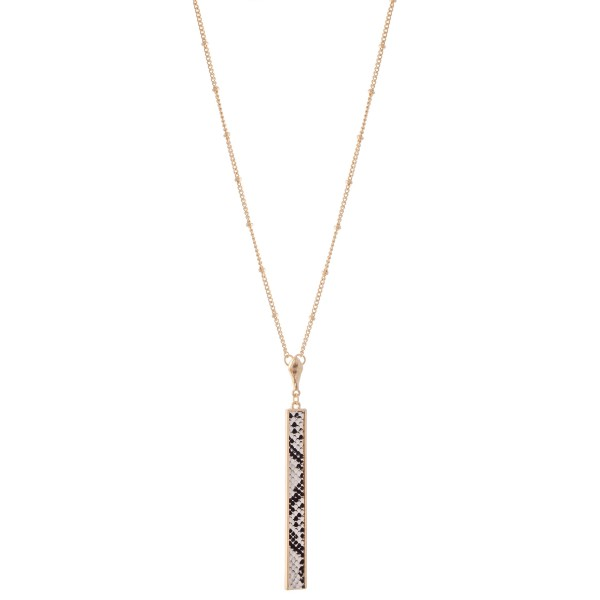 Wholesale long Metal Encased Faux Leather Animal Print Bar Necklace Pendant L L