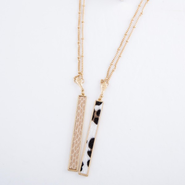 "Long Faux Leather Animal Print Bar Necklace.  - Pendant 3"" L - Approximately 36"" L overall - 3"" Adjustable Extender"
