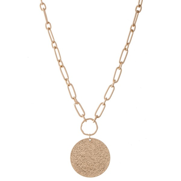 "Chain Link Necklace with Textured Disc Pendant.  - Pendant approximately 1.75"" in diameter - Approximately 20"" L  - 3"" Adjustable Extender"