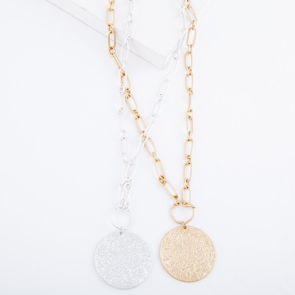 """Chain Link Necklace with Textured Disc Pendant.  - Pendant approximately 1.75"""" in diameter - Approximately 20"""" L  - 3"""" Adjustable Extender"""