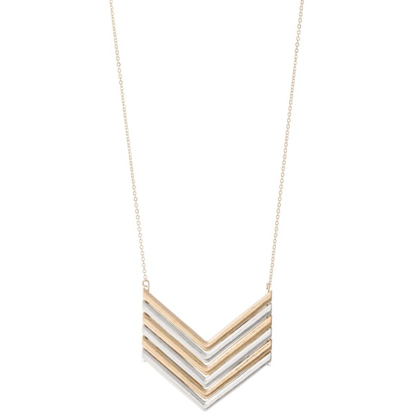 """Long metal necklace featuring a V shaped metal pendant.  - Approximately 36"""" L"""