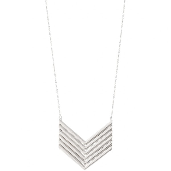 "Long metal necklace featuring a V shaped metal pendant.  - Approximately 36"" L"