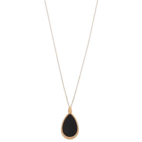 """Long metal encased wooden teardrop pendant necklace.  - Pendant approximately 3""""  - Approximately 34"""" L overall - 3"""" extender"""