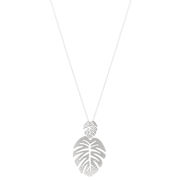 "Long Hammered Satin Palm Leaf Pendant Necklace.  - Pendant 2.5""  - Approximately 36"" L - 3"" Adjustable Extender"
