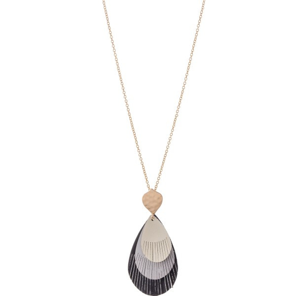 """Long Gold Necklace Featuring Multicolor Layered Teardrop Feather Pendant.  - Pendant 3""""  - Approximately 34"""" L  - 3"""" Adjustable Extender"""