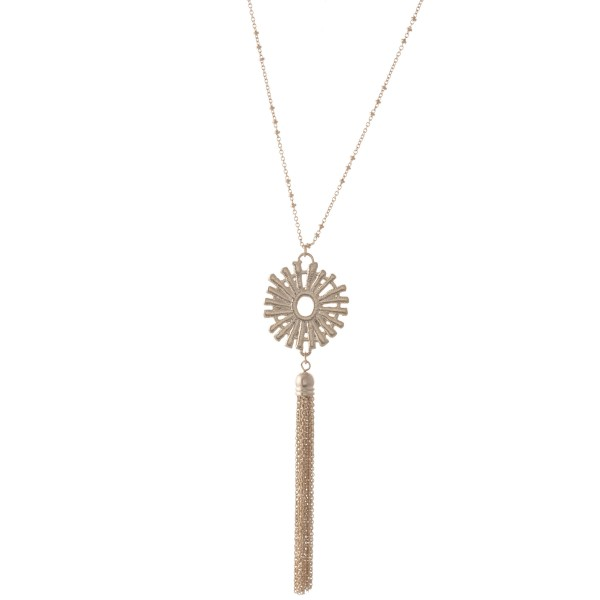 "Metal Starburst Tassel Pendant Necklace.  - Pendant 4""  - Approximately 34"" L - 3"" Adjustable Extender"