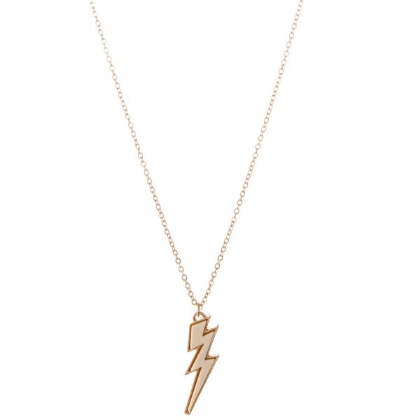 "Wood Lightning Bolt Pendant Necklace.  - Pendant 1""  - Approximately 18"" L  - 3"" Adjustable Extender"