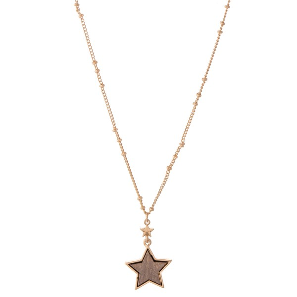 "Wood Star Pendant Necklace.  - Pendant .75"" - Approximately 18"" L - 3"" Adjustable Extender"