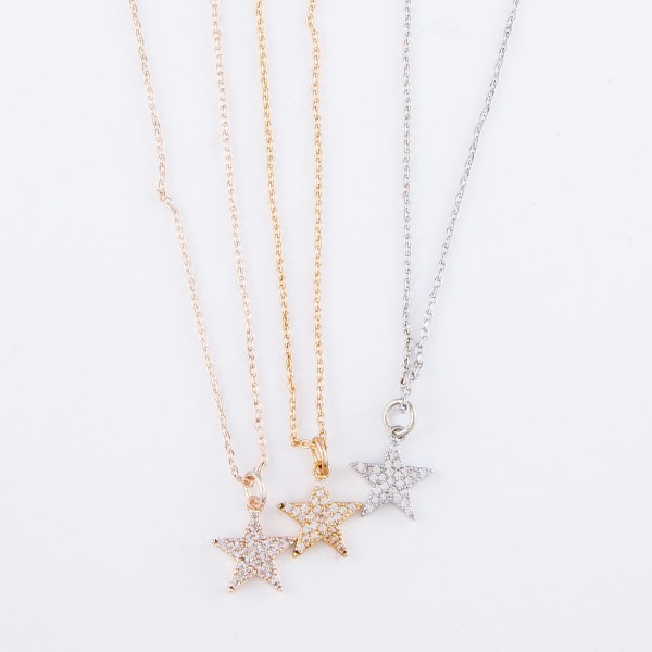 "Dainty Brass Metal Star Necklace Featuring Rhinestone Details.  - Star Pendant 1cm - Approximately 14"" L  - 3"" Adjustable Extender"