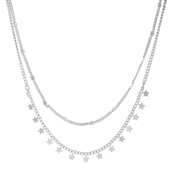 """Short Double Layer Chain Necklace Featuring Star Accents - Approximately 16"""" L with a 3"""" extender"""