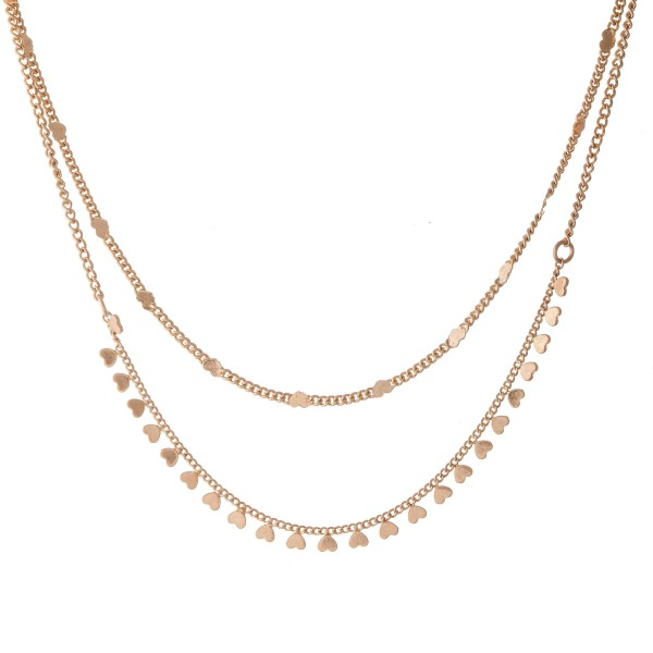"Double layered chain necklace featuring heart accents.  - Approximately 16"" L with a 3"" extender"