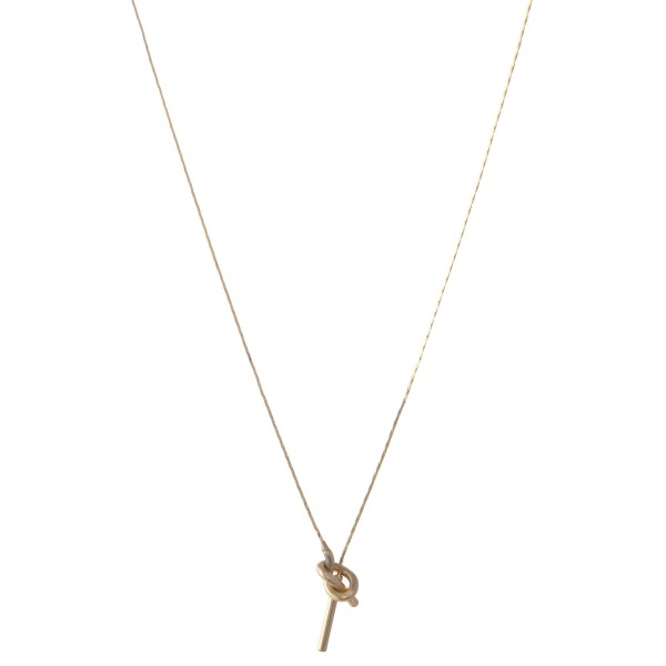"Dainty Brass Metal Love Knot Threader Bar Necklace.  - Approximately 16"" L  - 3"" Adjustable Extender"