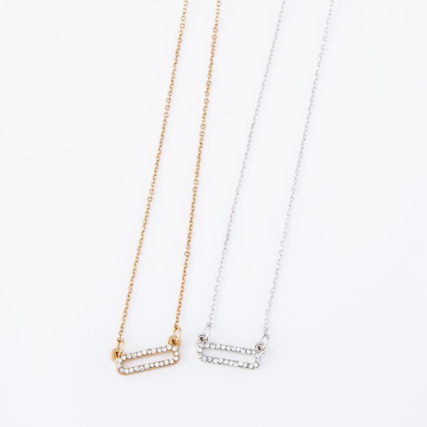 """Short chain necklace featuring a hollow bar pendant adorned with CZ stones.  - Approximately 16"""" L with a 3"""" extender"""