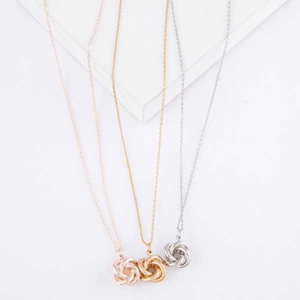 "Brass Metal Love Knot Necklace.  - Love Knot Pendant 1cm  - Approximately 16"" L  - 3"" Adjustable Extender"