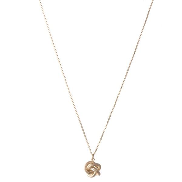 "Brass Metal Love Knot Necklace.  - Love Knot Pendant 1cm  - Approximately 16"" L  - 3"" Adjustable Extender"