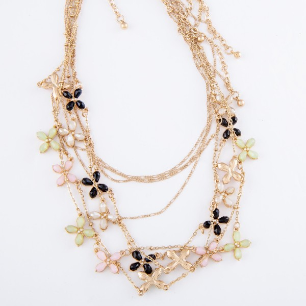 """Gold Layered Necklace Featuring Rhinestone Flower Accents.  - Approximately 16"""" L  - 3"""" Adjustable Extender"""