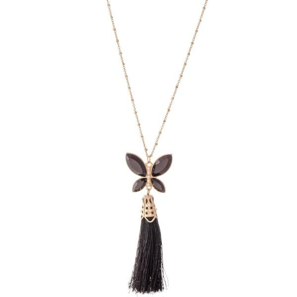 """Long Gold Necklace Featuring Rhinestone Butterfly Tassel Pendant.  - Pendant 3""""  - Approximately 38"""" L  - 3"""" Adjustable Extender"""
