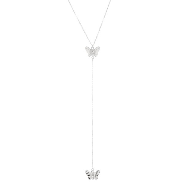 "Silver Y necklace featuring a thin chain and butterfly pendants  - Approximately 16"" L, Y pendant is approximately 26"" L  - Features a 3"" extender"