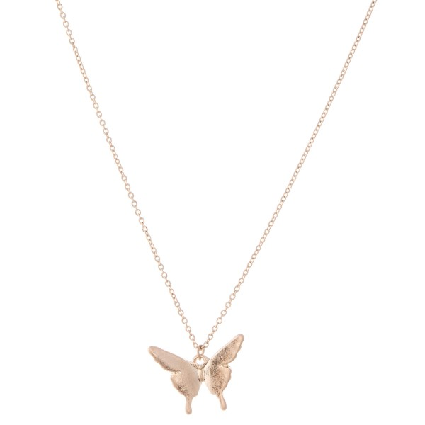 "Short gold necklace featuring a butterfly pendant  - Approximately 18"" L with 3"" extender - Pendant is approximately 3"" L"