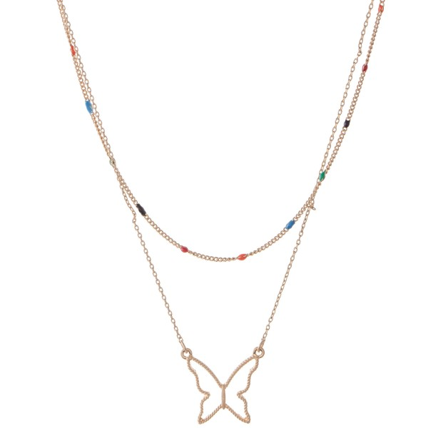 """Gold Layered Butterfly Necklace Featuring Enamel Coating Details.  - Butterfly Pendant .75""""  - Approximately 14"""" L  - 3"""" Adjustable Extender"""